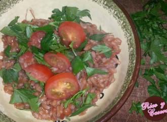 Pronto para comer! Risotto de tomate