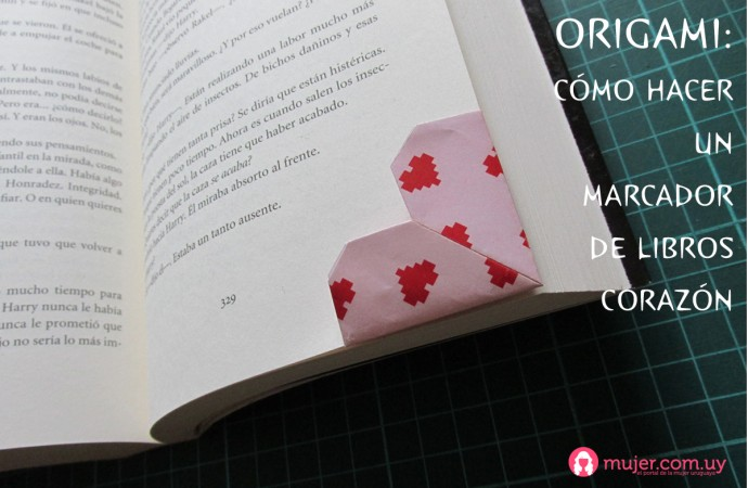 Origami: marcalibros corazón